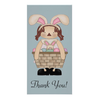 Easter Annie with a Basket full of Eggs Card
