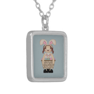 Easter Annie with a Basket full of Eggs Silver Plated Necklace