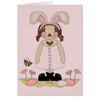 Easter Annie with Bee, Fowers, and Eggs Greeting Card