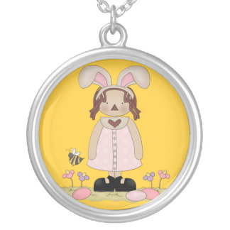 Easter Annie with Bee, Fowers, and Eggs Custom Necklace
