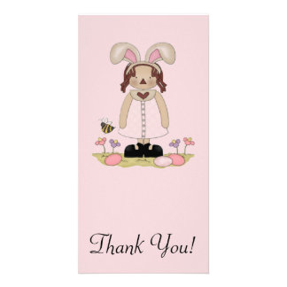 Easter Annie with Bee, Fowers, and Eggs Photo Greeting Card