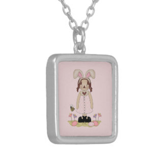 Easter Annie with Bee, Fowers, and Eggs Silver Plated Necklace