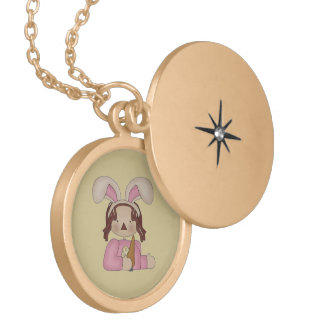 Easter Annie with Carrot Locket Necklace