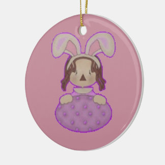 Easter Annie with Huge Purple Egg Ceramic Ornament