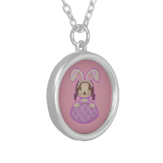 Easter Annie with Huge Purple Egg Silver Plated Necklace