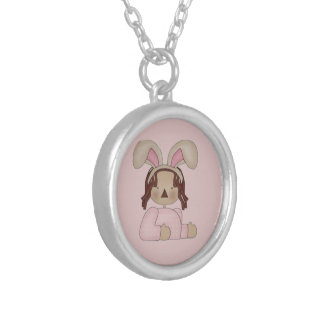 Easter Annie with Pink Blouse Silver Plated Necklace