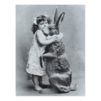 Easter Antique Post Card Girl Love Bunny