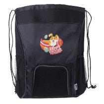 Easter April Fool's Day Gifts Corgi Puppy Dog Egg Drawstring Backpack