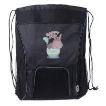 Easter April Fool's Day Hippopotamus Egg Easter Drawstring Backpack
