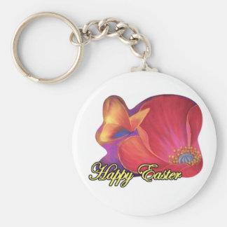 Easter Art Floral Pink Poppy Butterfly - Multi Key Chain