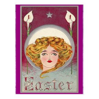 Easter ~ Art Nouveau Woman & Lilies Postcard