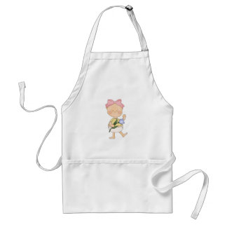 easter baby girl with spring tulip aprons