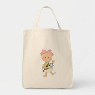 easter baby girl with spring tulip bags