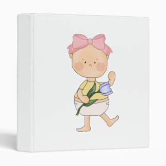 easter baby girl with spring tulip binders