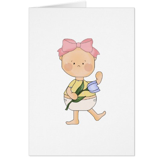 easter baby girl with spring tulip card