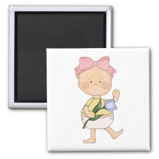 easter baby girl with spring tulip fridge magnets