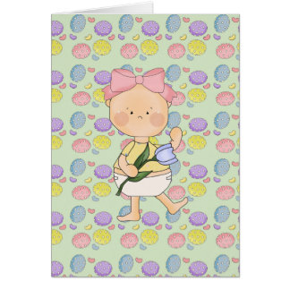 easter baby girl with spring tulip greeting cards