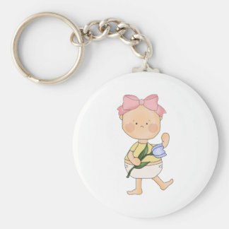 easter baby girl with spring tulip key chains
