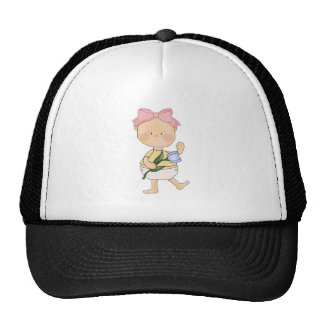 easter baby girl with spring tulip mesh hats