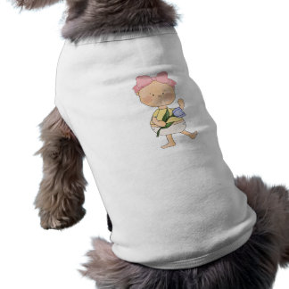 easter baby girl with spring tulip pet t-shirt