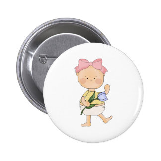 easter baby girl with spring tulip pins