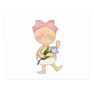 easter baby girl with spring tulip post card