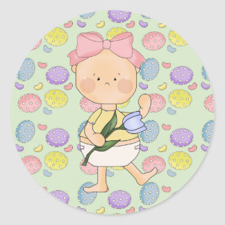 easter baby girl with spring tulip round stickers