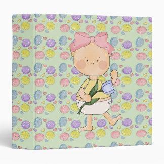 easter baby girl with spring tulip vinyl binders