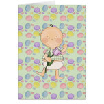 easter baby with purple tulip greeting card