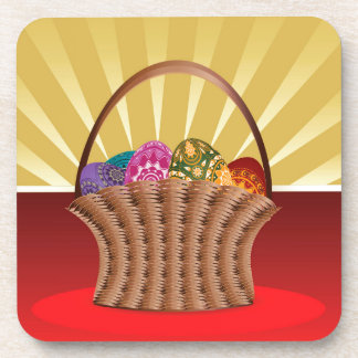Easter background with basket of eggs coaster
