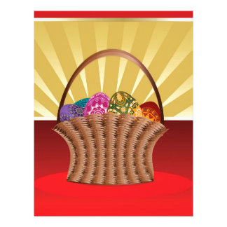 Easter background with basket of eggs letterhead