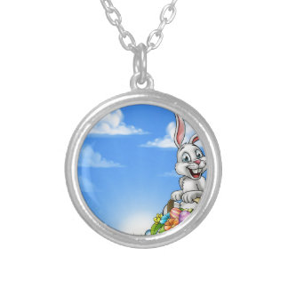 Easter Background with Bunny and Eggs Silver Plated Necklace