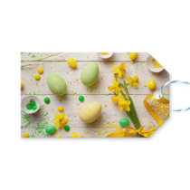 Easter Background with Easter Eggs, Spring Flowers Gift Tags