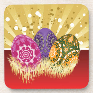 Easter background with eggs beverage coaster