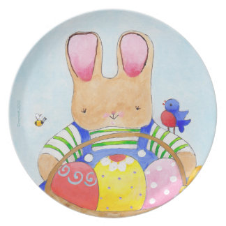 Easter basket boy bunny dinner plate
