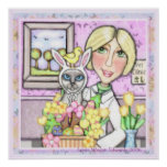 Easter Basket Cat With Veterinarian Poster