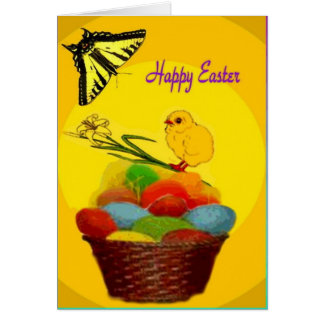 Easter Basket, Chick and Eggs Card