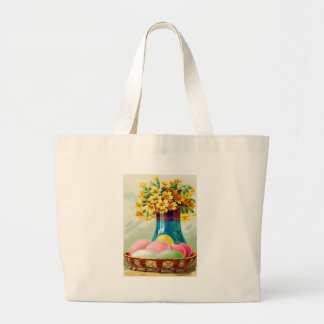 Easter Basket Colored Eggs Vase Daisies Large Tote Bag