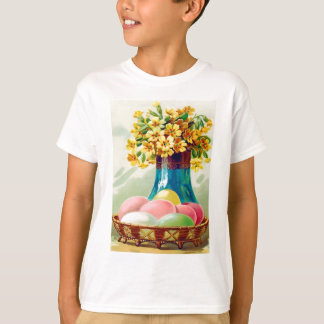 Easter Basket Colored Eggs Vase Daisies T-Shirt