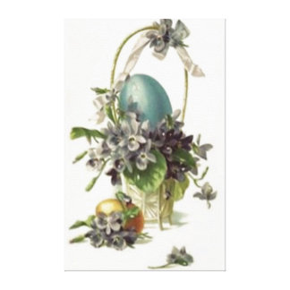 Easter Basket Colored Painted Egg Violet Canvas Print