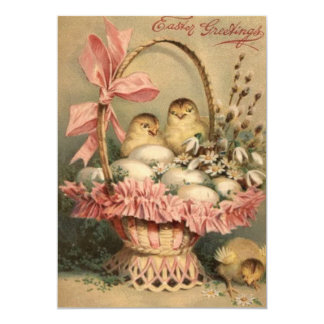 Easter Basket Egg Chick Pink Bow Card