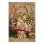 Easter Basket Egg Chick Pink Bow Forget Me Not Posters
