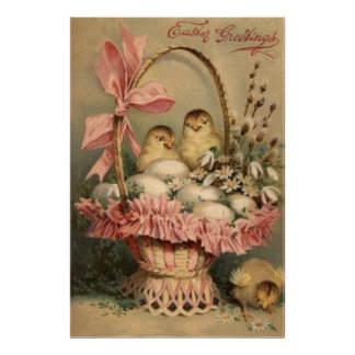 Easter Basket Egg Chick Pink Bow Forget Me Not Poster