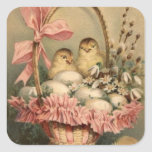 Easter Basket Egg Chick Pink Bow Forget Me Not Square Sticker