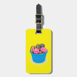 Easter basket full of colorful eggs bag tag