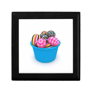 Easter basket full of colorful eggs jewelry box