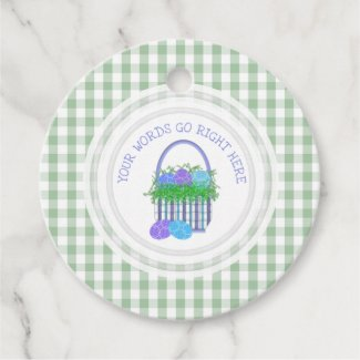 Easter Basket Gingham Personalized Favor Tags
