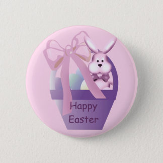 Easter Basket Girl Bunny Happy Easter Button