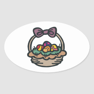 Easter Basket Oval Sticker
