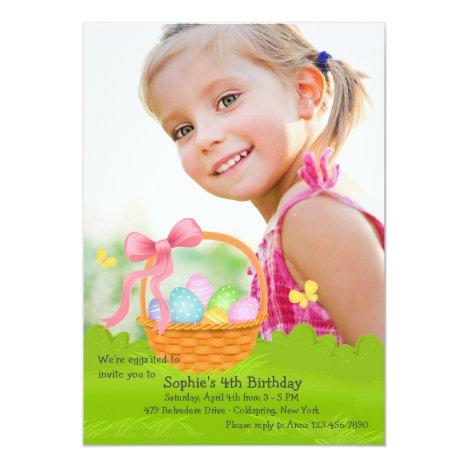Easter Basket Photo Birthday Invitation